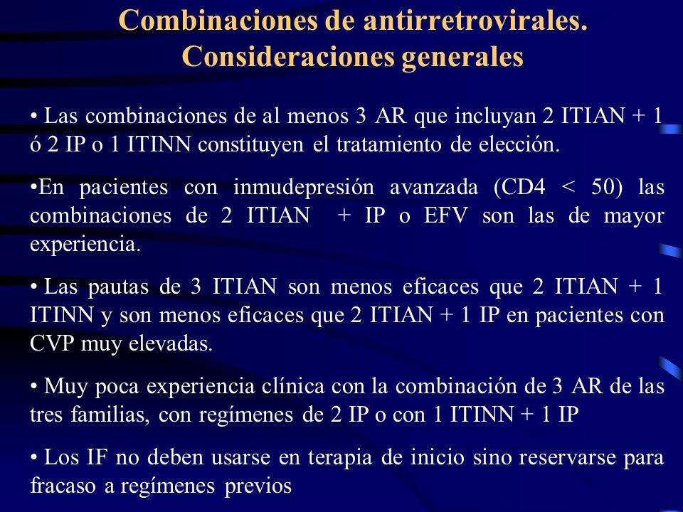 Combinaciones de antirretrovirales. Consideraciones generales