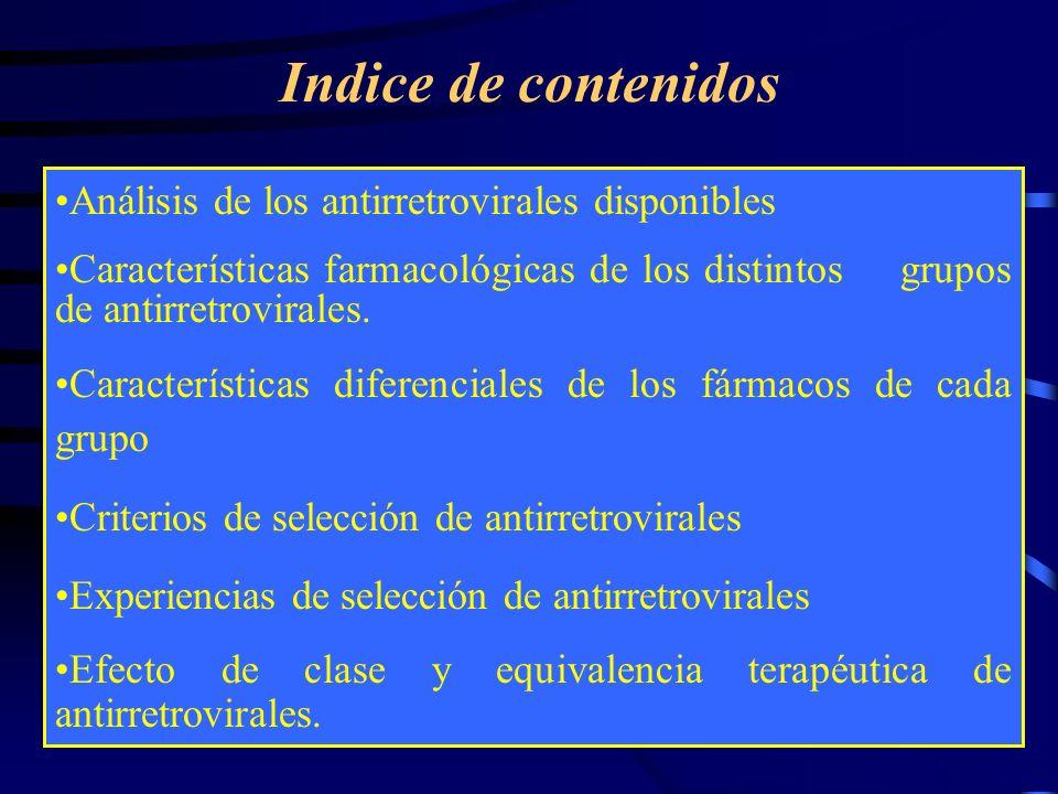 Indice de contenidos Análisis de los antirretrovirales disponibles