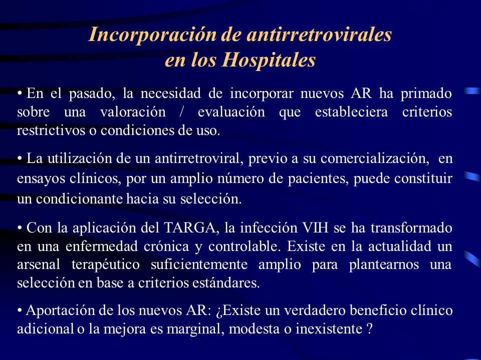Incorporación de antirretrovirales en los Hospitales
