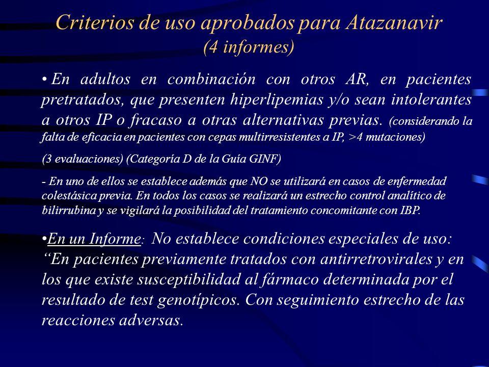 Criterios de uso aprobados para Atazanavir (4 informes)