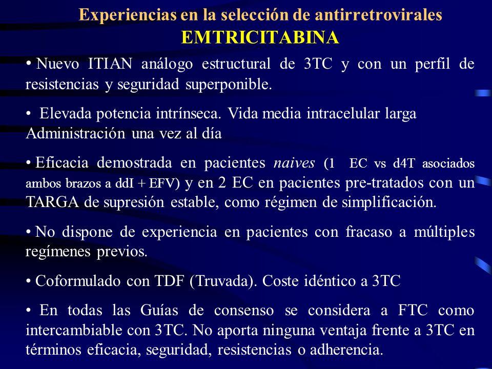 Experiencias en la selección de antirretrovirales EMTRICITABINA