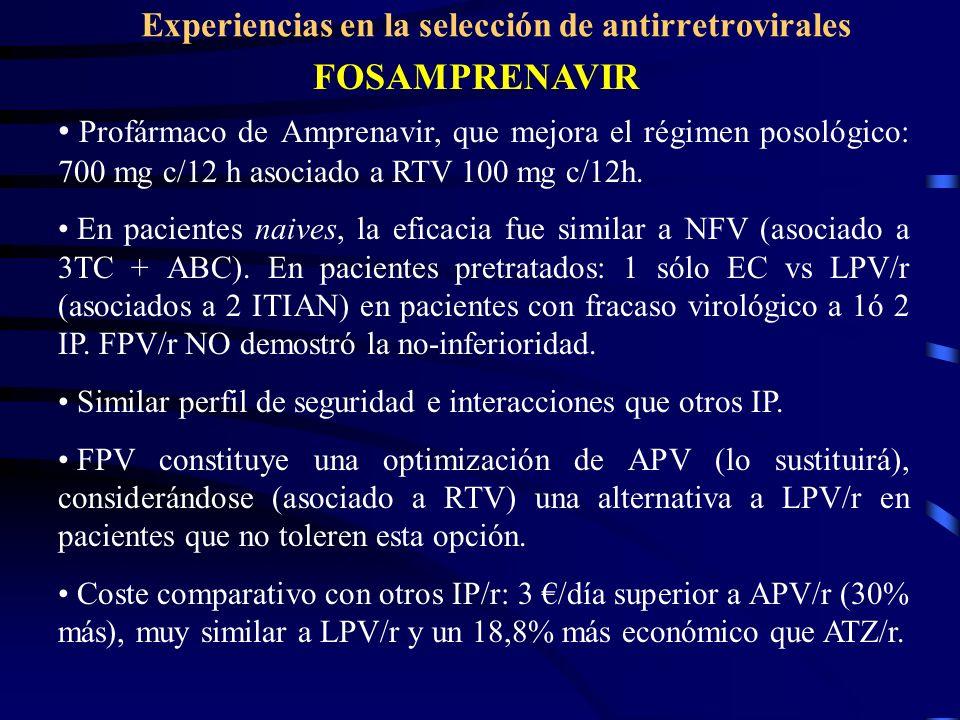 Experiencias en la selección de antirretrovirales