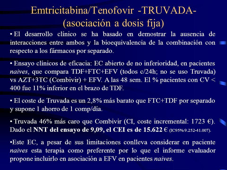 Emtricitabina/Tenofovir -TRUVADA- (asociación a dosis fija)