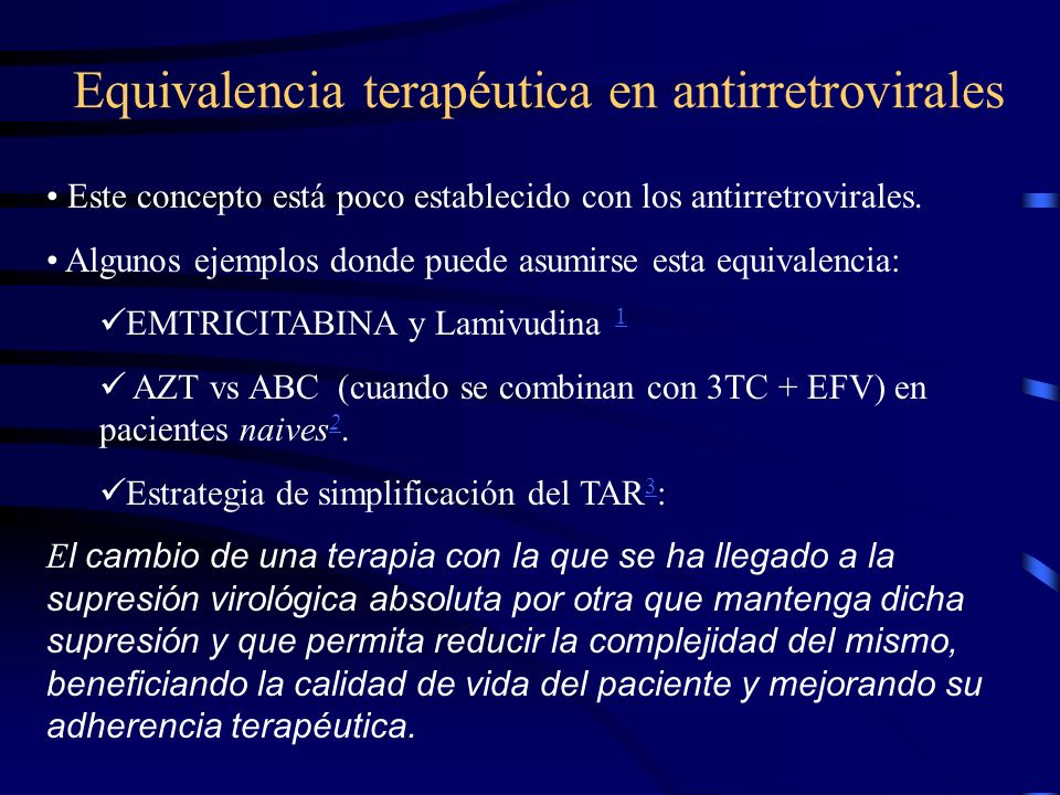 Equivalencia terapéutica en antirretrovirales