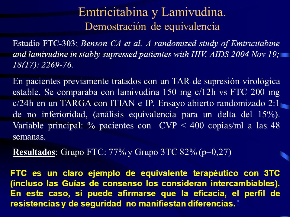 Emtricitabina y Lamivudina. Demostración de equivalencia