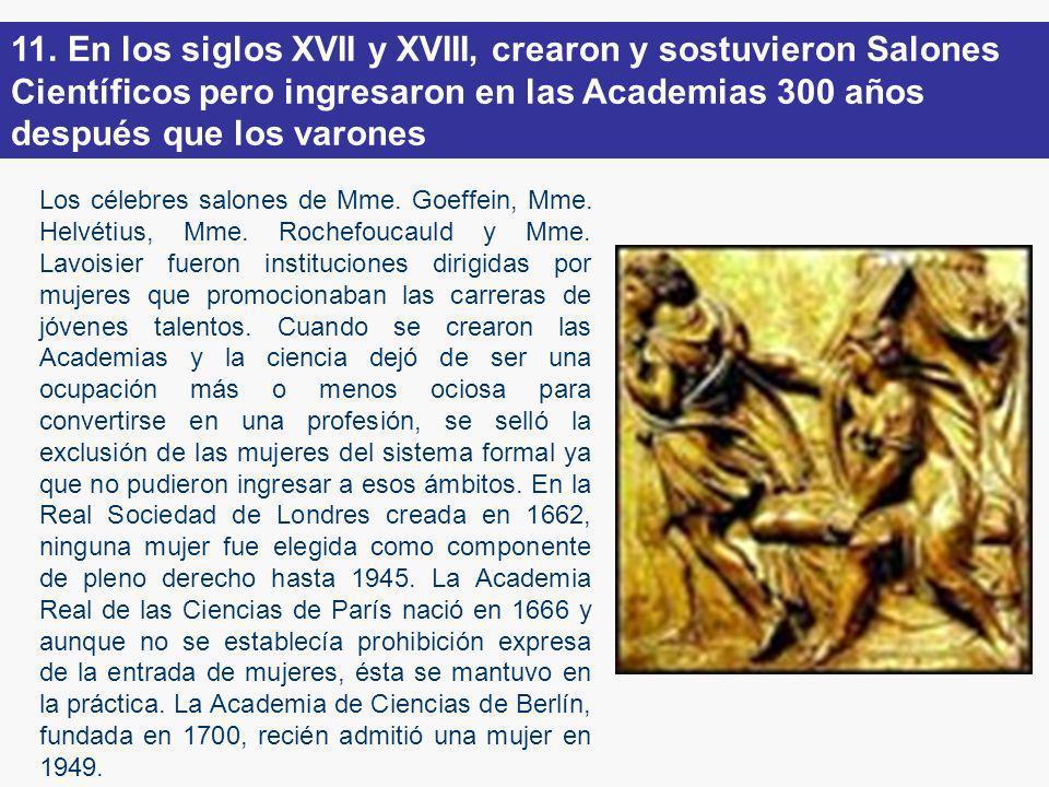 11. En los siglos XVII y XVIII, crearon y sostuvieron Salones Científicos pero ingresaron en las Academias 300 años después que los varones