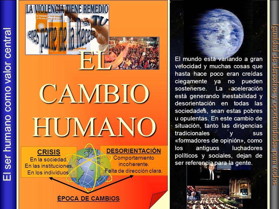 EL CAMBIO HUMANO El ser humano como valor central
