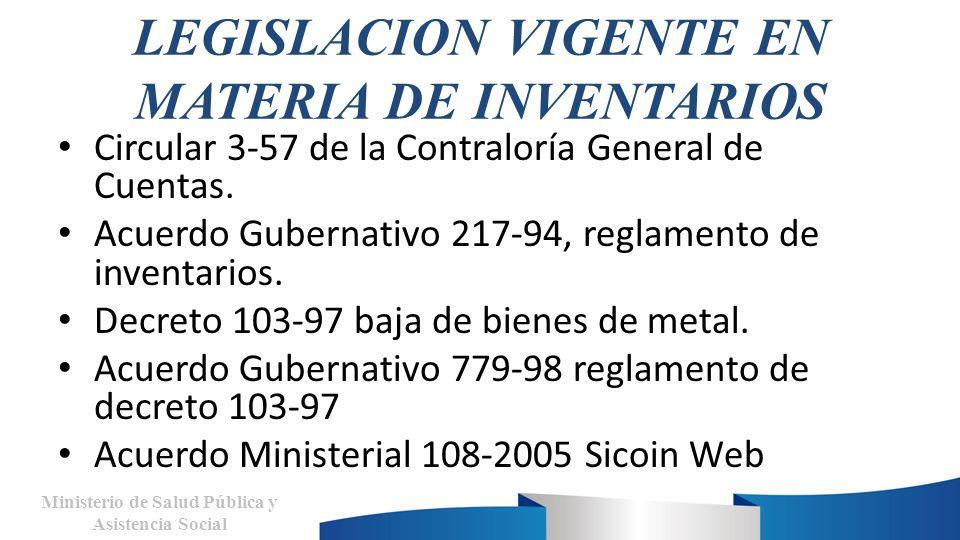 LEGISLACION VIGENTE EN MATERIA DE INVENTARIOS