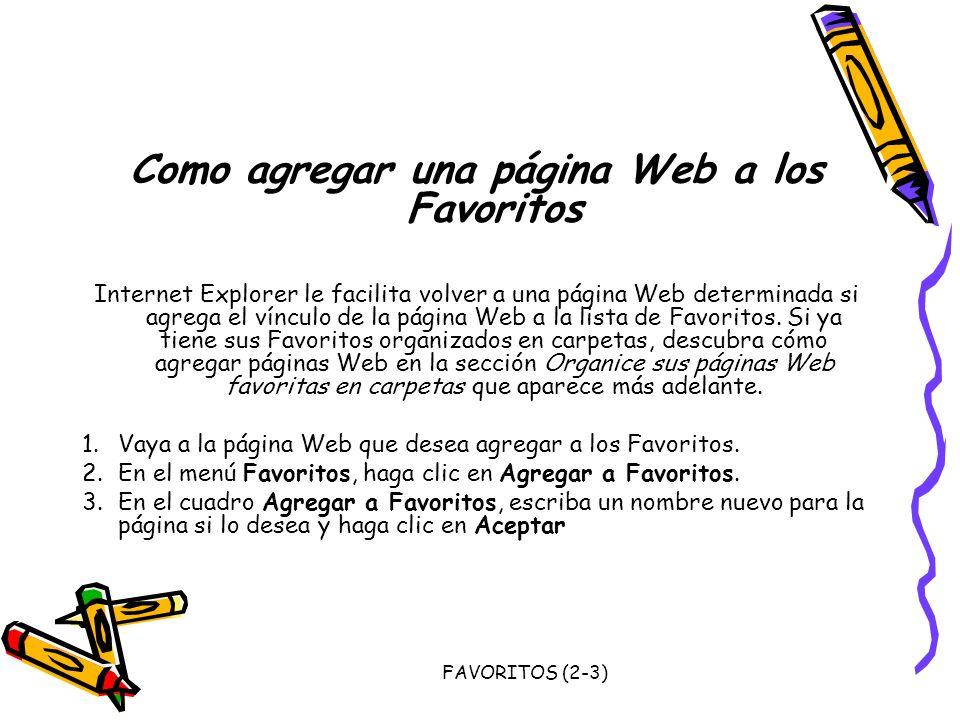 Como agregar una página Web a los Favoritos