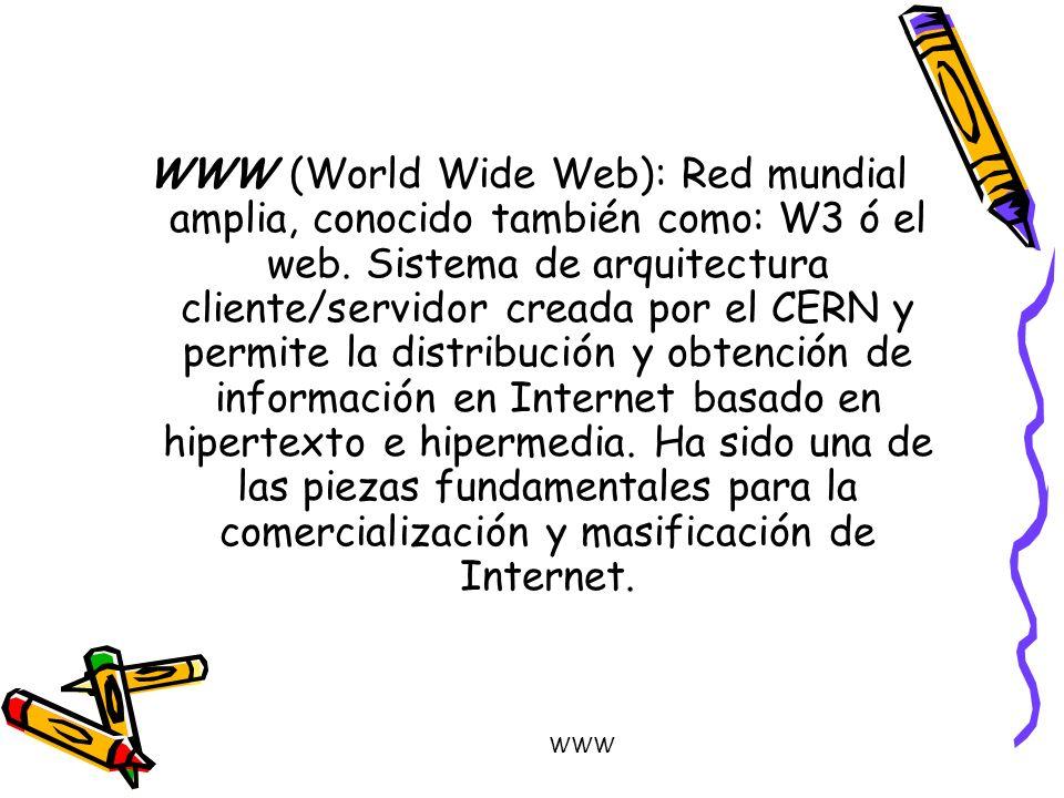 WWW (World Wide Web): Red mundial amplia, conocido también como: W3 ó el web. Sistema de arquitectura cliente/servidor creada por el CERN y permite la distribución y obtención de información en Internet basado en hipertexto e hipermedia. Ha sido una de las piezas fundamentales para la comercialización y masificación de Internet.