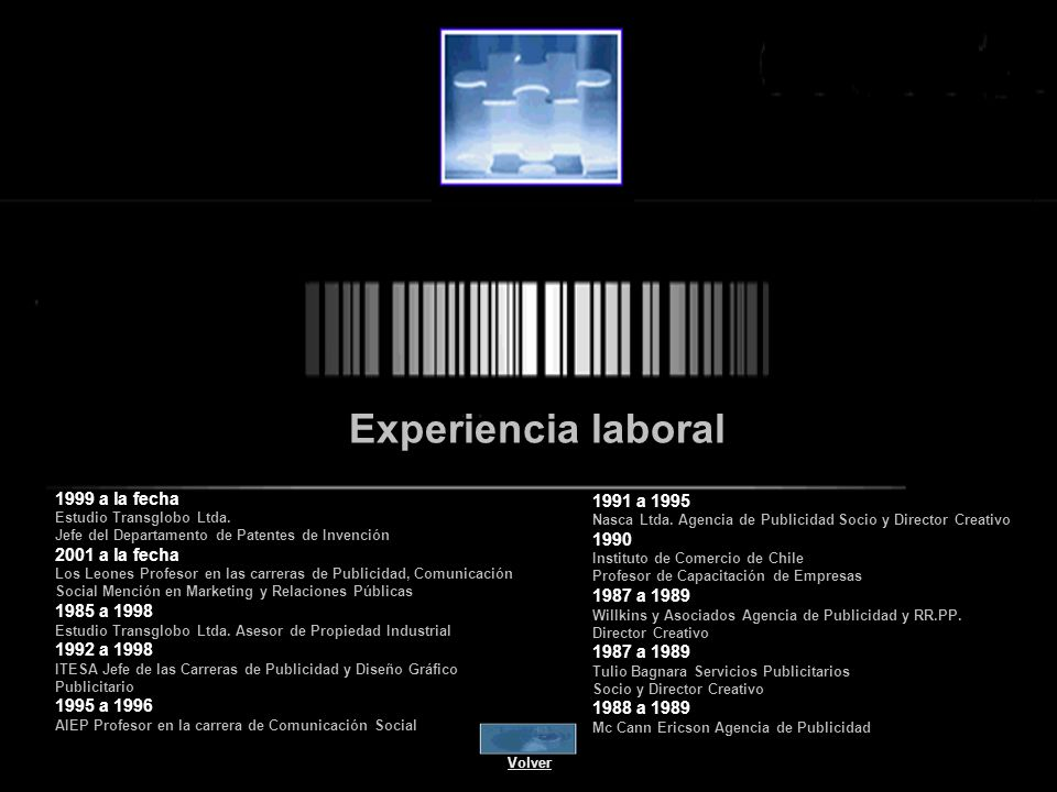 Experiencia laboral 1991 a 1995 1999 a la fecha 1990 2001 a la fecha