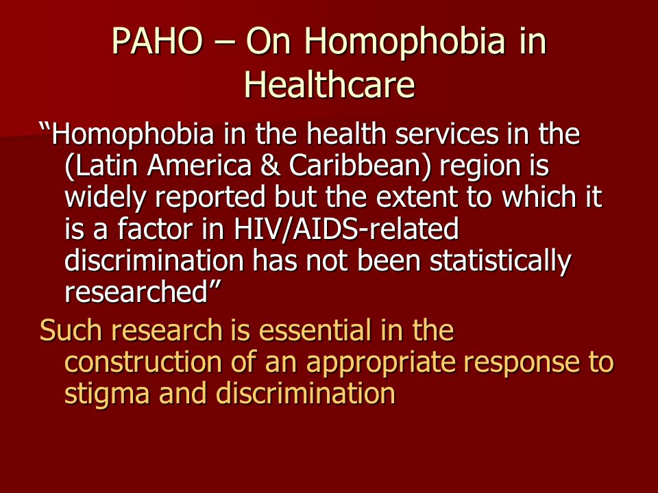 PAHO – On Homophobia in Healthcare