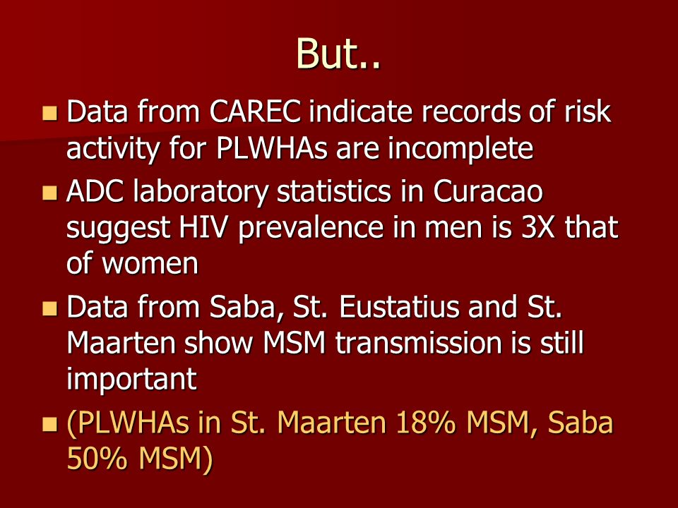 But.. Data from CAREC indicate records of risk activity for PLWHAs are incomplete.