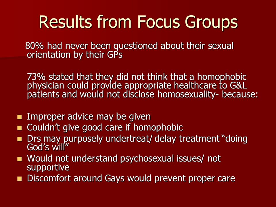 Results from Focus Groups