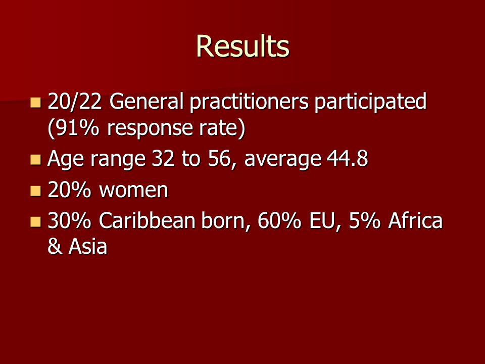 Results 20/22 General practitioners participated (91% response rate)