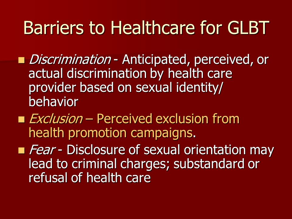 Barriers to Healthcare for GLBT