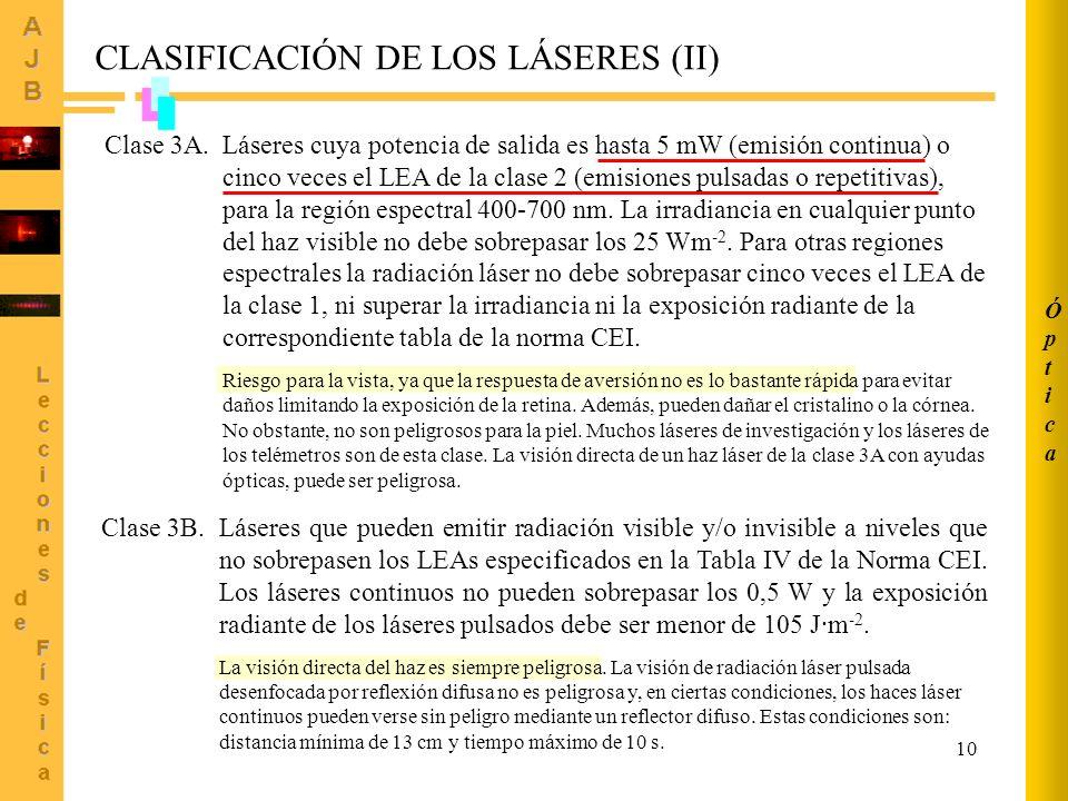 CLASIFICACIÓN DE LOS LÁSERES (II)