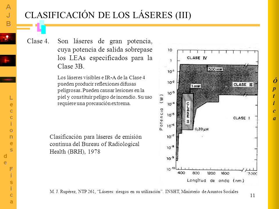 CLASIFICACIÓN DE LOS LÁSERES (III)
