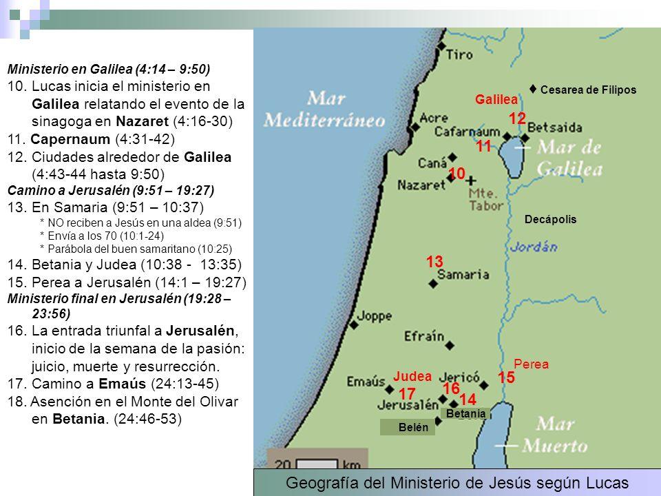 Geografía del Ministerio de Jesús según Lucas