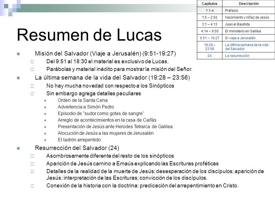 Resumen de Lucas Misión del Salvador (Viaje a Jerusalén) (9:51-19:27)