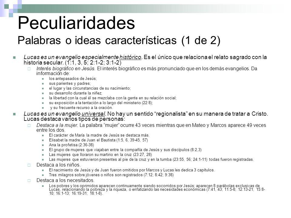 Peculiaridades Palabras o ideas características (1 de 2)