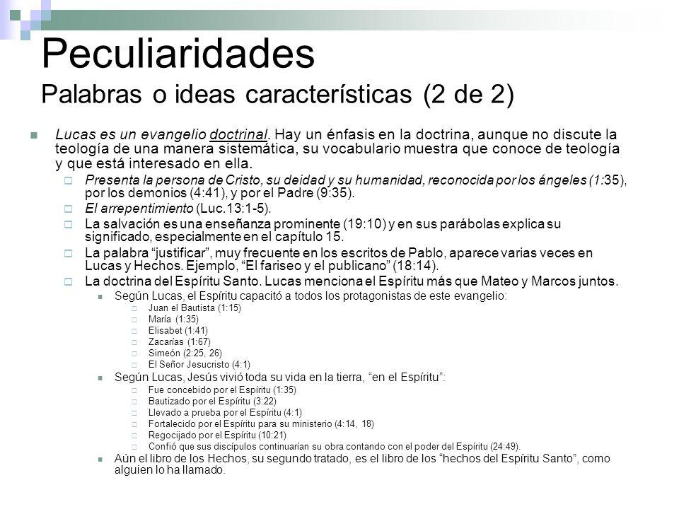 Peculiaridades Palabras o ideas características (2 de 2)