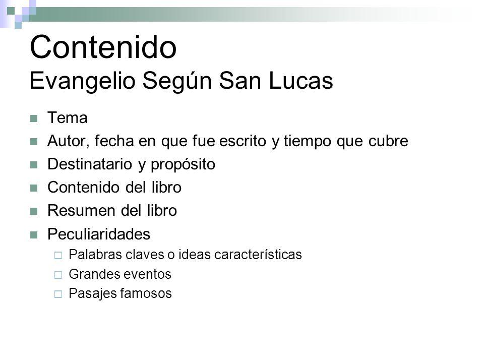 Contenido Evangelio Según San Lucas