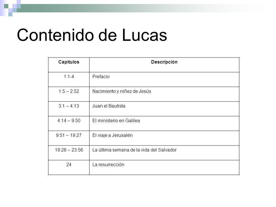 Contenido de Lucas Capítulos Descripción 1:1-4 Prefacio 1:5 – 2:52
