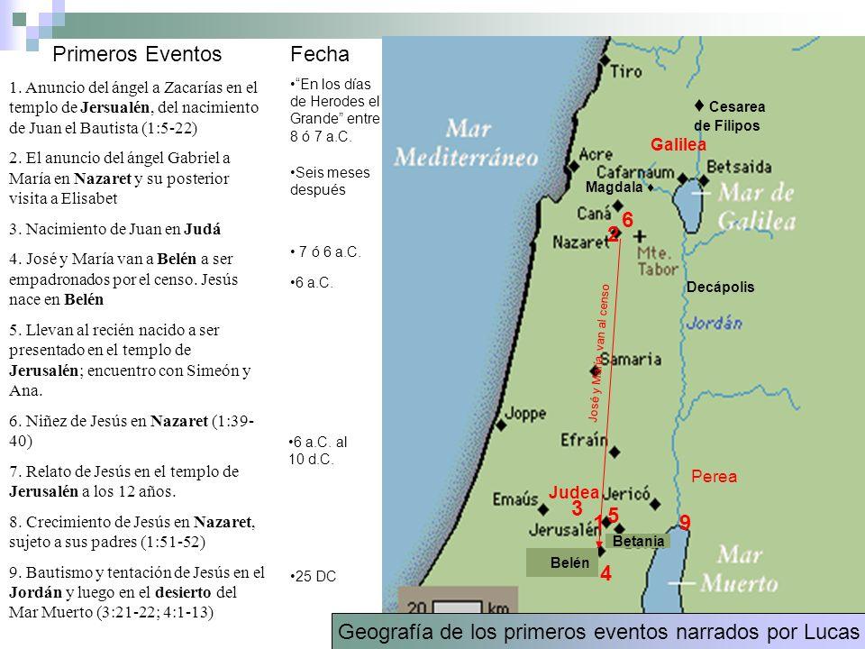 Geografía de los primeros eventos narrados por Lucas
