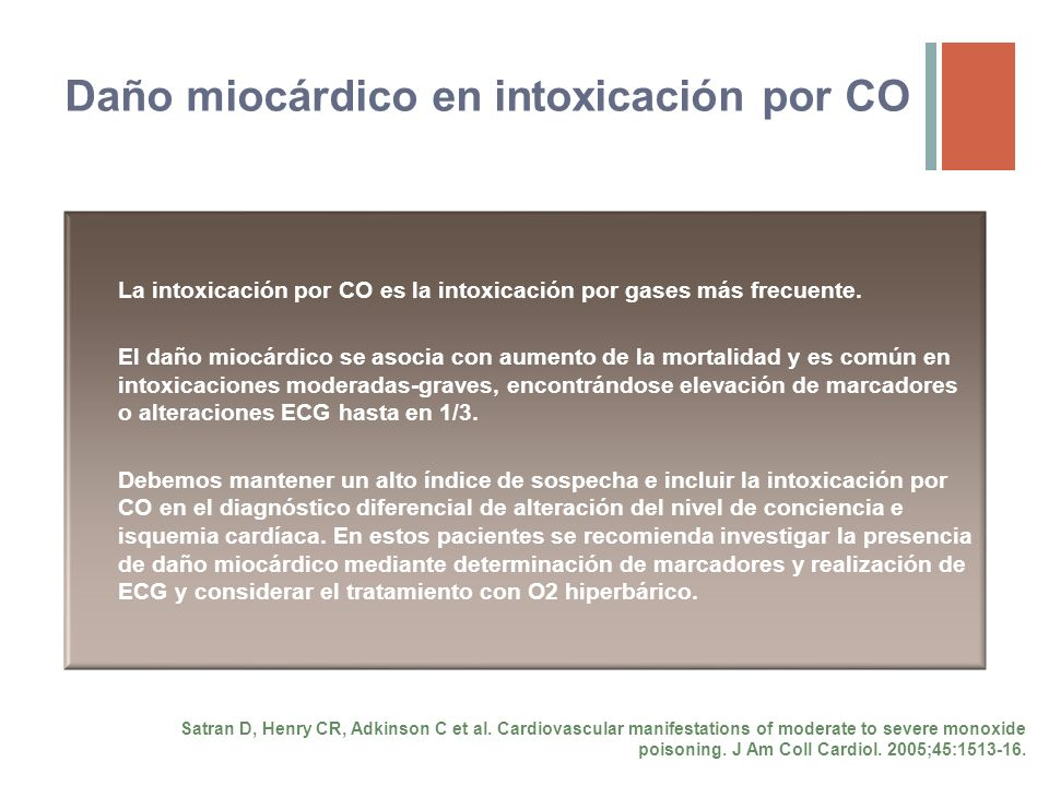 Daño miocárdico en intoxicación por CO