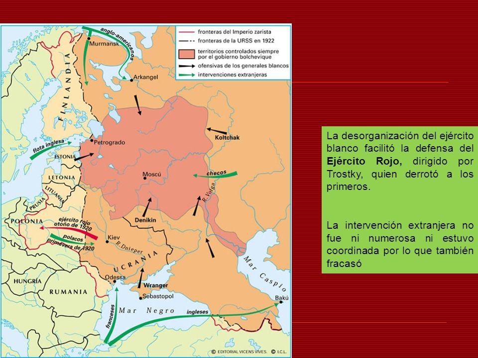 La desorganización del ejército blanco facilitó la defensa del Ejército Rojo, dirigido por Trostky, quien derrotó a los primeros.