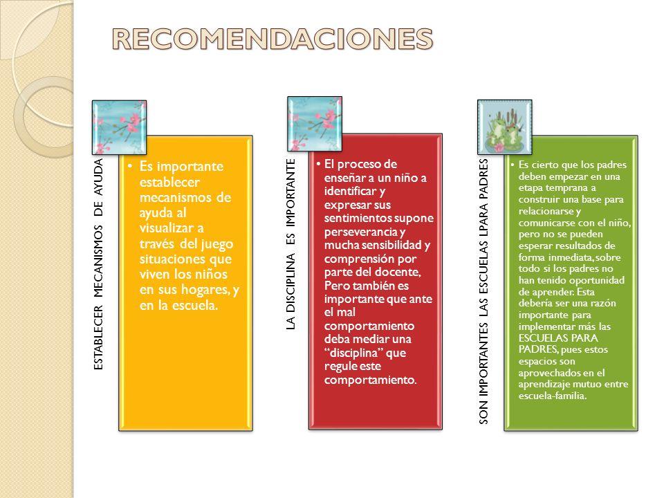 RECOMENDACIONES ESTABLECER MECANISMOS DE AYUDA.