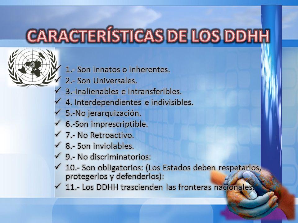 CARACTERÍSTICAS DE LOS DDHH