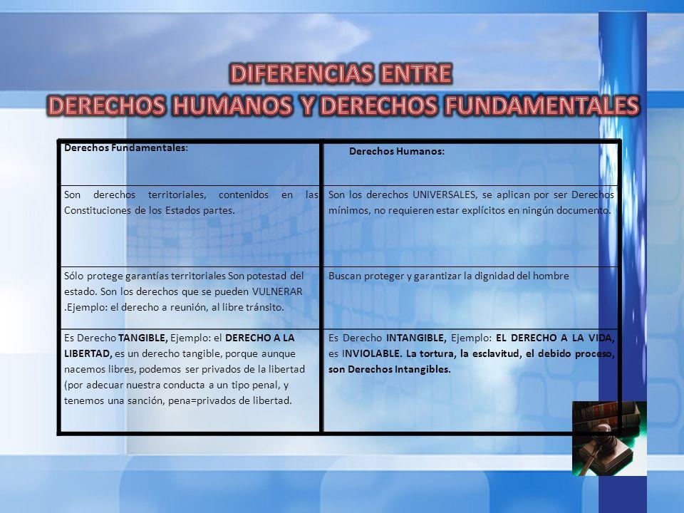DERECHOS HUMANOS Y DERECHOS FUNDAMENTALES