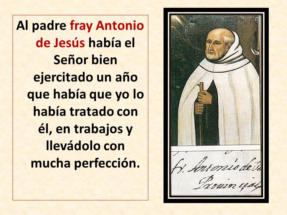 Al padre fray Antonio de Jesús había el Señor bien ejercitado un año que había que yo lo había tratado con él, en trabajos y llevádolo con mucha perfección.