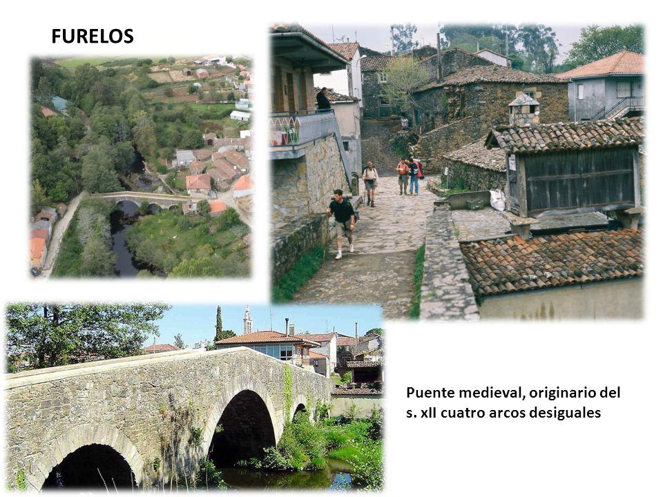 FURELOS Puente medieval, originario del s. xII cuatro arcos desiguales