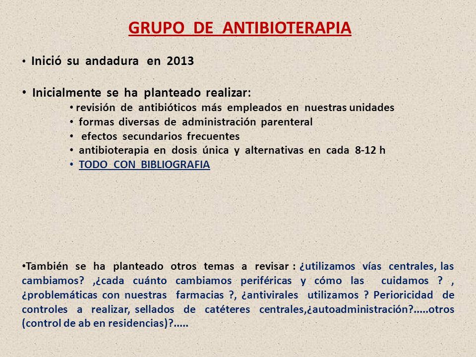 GRUPO DE ANTIBIOTERAPIA
