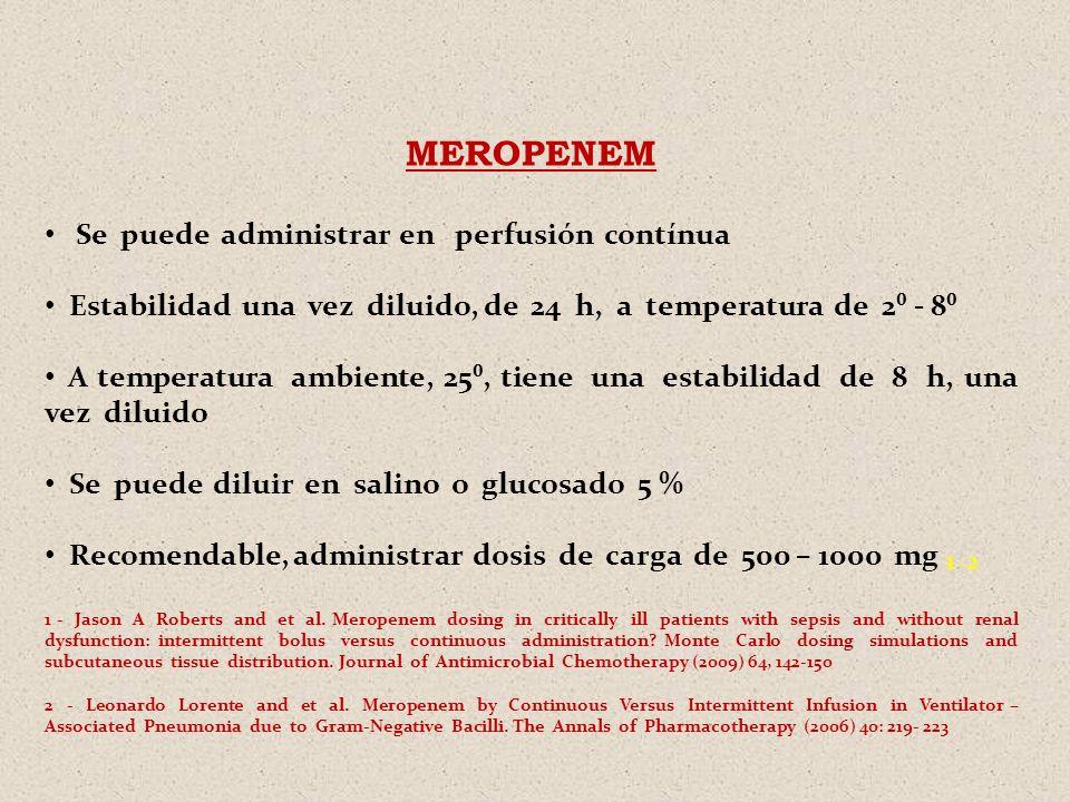 MEROPENEM Se puede administrar en perfusión contínua