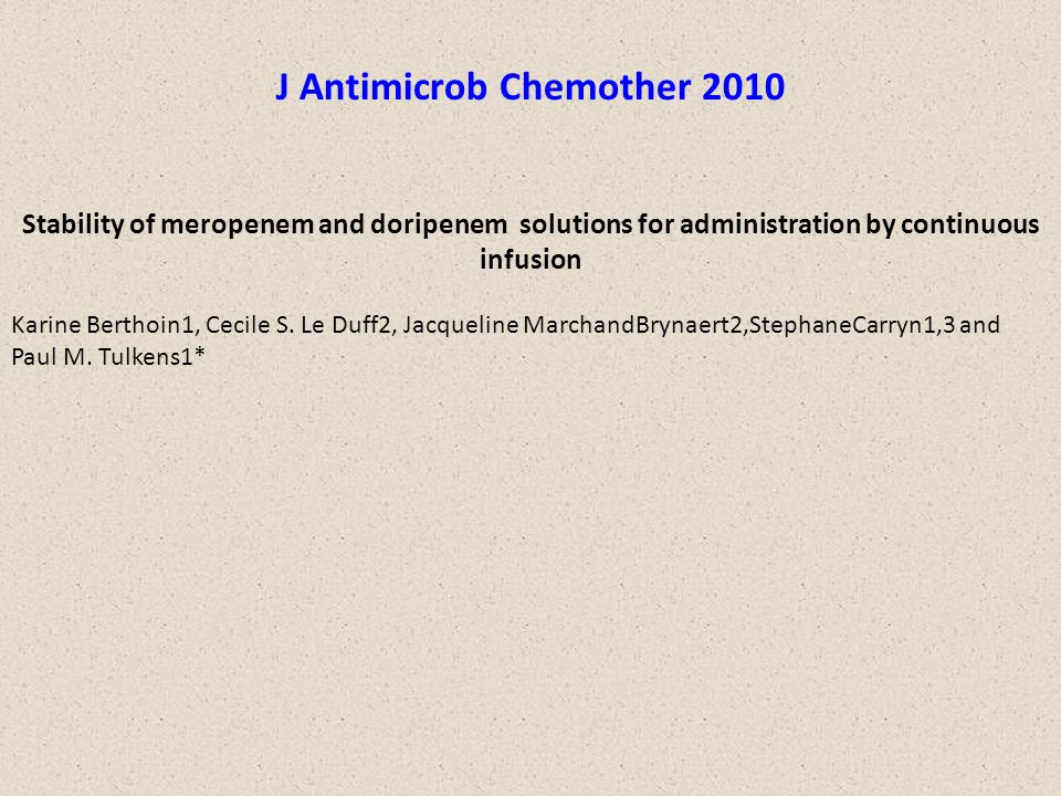 J Antimicrob Chemother 2010