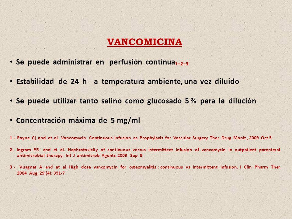 VANCOMICINA Se puede administrar en perfusión contínua₁₋₂₋₃
