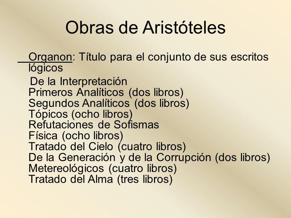 Obras de Aristóteles Organon: Título para el conjunto de sus escritos lógicos.