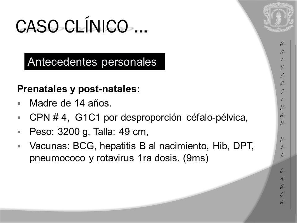 CASO CLÍNICO … Antecedentes personales Prenatales y post-natales: