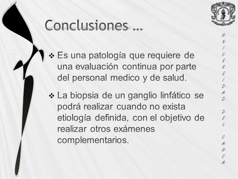 UNI VERS. IDAD. DEL. CAUCA. Conclusiones … Es una patología que requiere de una evaluación continua por parte del personal medico y de salud.
