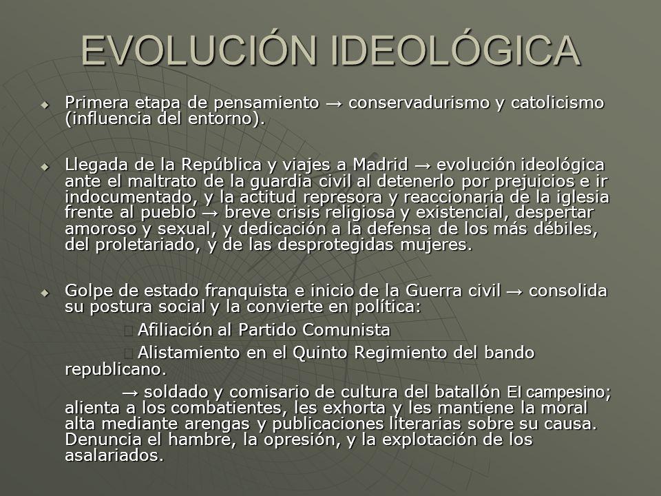 EVOLUCIÓN IDEOLÓGICAPrimera etapa de pensamiento → conservadurismo y catolicismo (influencia del entorno).