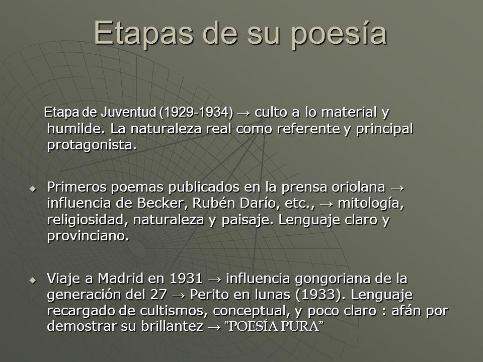Etapas de su poesíaEtapa de Juventud (1929-1934) → culto a lo material y humilde. La naturaleza real como referente y principal protagonista.