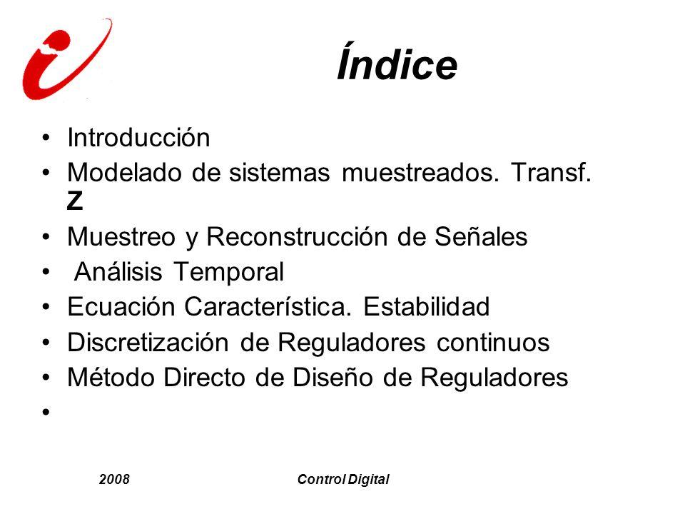 Índice Introducción Modelado de sistemas muestreados. Transf. Z