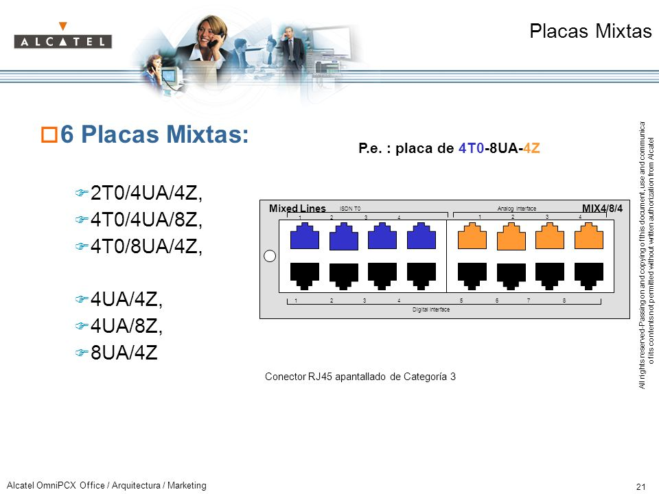 6 Placas Mixtas: Placas Mixtas 2T0/4UA/4Z, 4T0/4UA/8Z, 4T0/8UA/4Z,
