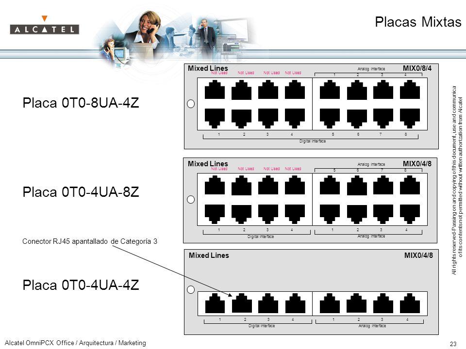 Placas Mixtas Placa 0T0-8UA-4Z Placa 0T0-4UA-8Z Placa 0T0-4UA-4Z