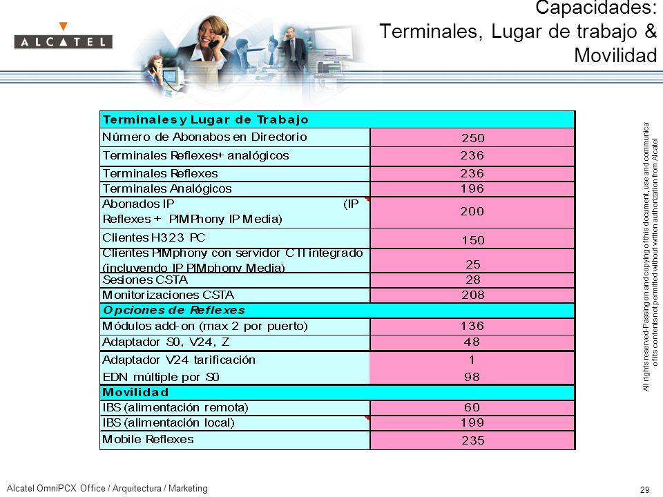Capacidades: Terminales, Lugar de trabajo & Movilidad