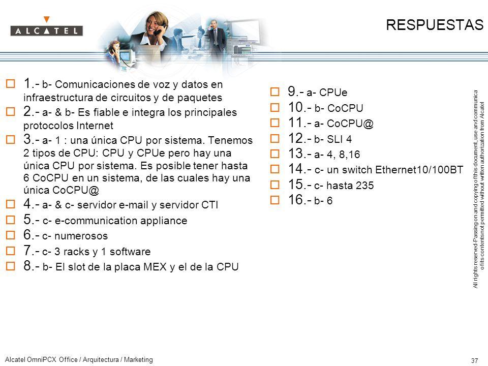 RESPUESTAS 1.- b- Comunicaciones de voz y datos en infraestructura de circuitos y de paquetes.